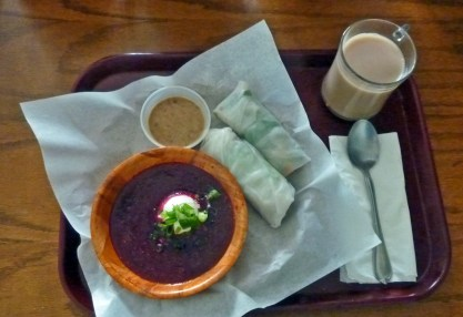 Vegan Spring Rolls with Thai Almond Dipping Sauce, Beet Soup