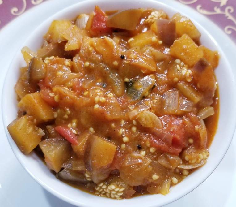 Yummy curry is ready to serve on plate.