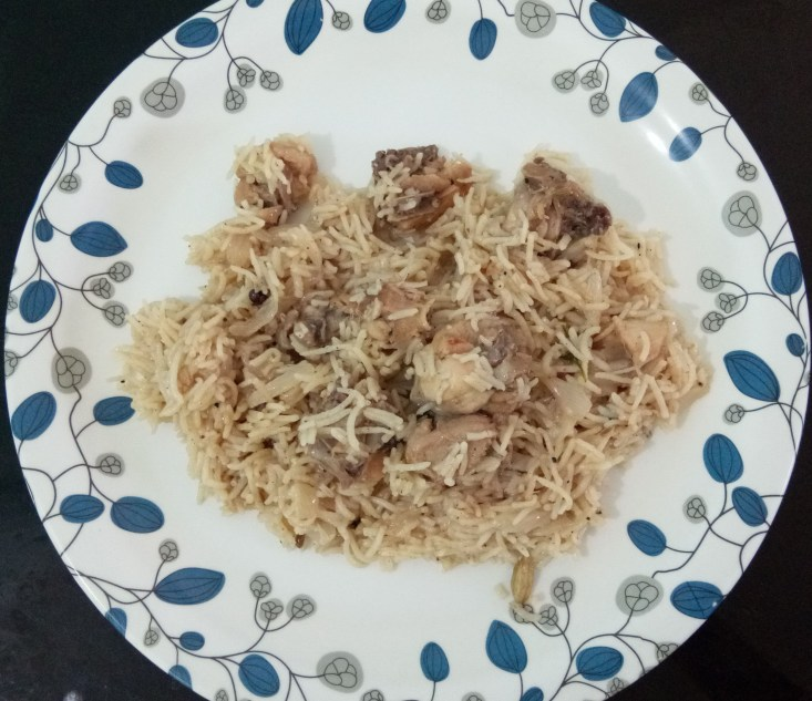 Chicken Yakhni pulao is ready to serve hot.