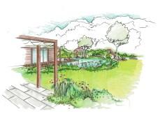 Visualisierung Saunagarten mit Pergola und Schwimmteich