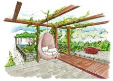 Stimmungsbild im Saunagarten mit Pergola, Hängesitz & Feuerring