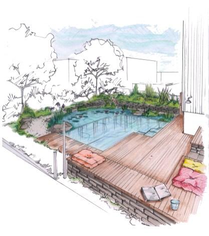 Visualisierung Schwimmteich mit Holzdeck und Sitzecke im Kebony-Verfahren