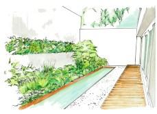 Visualisierung des Atriums im untersten Bereich vom Terrassengarten