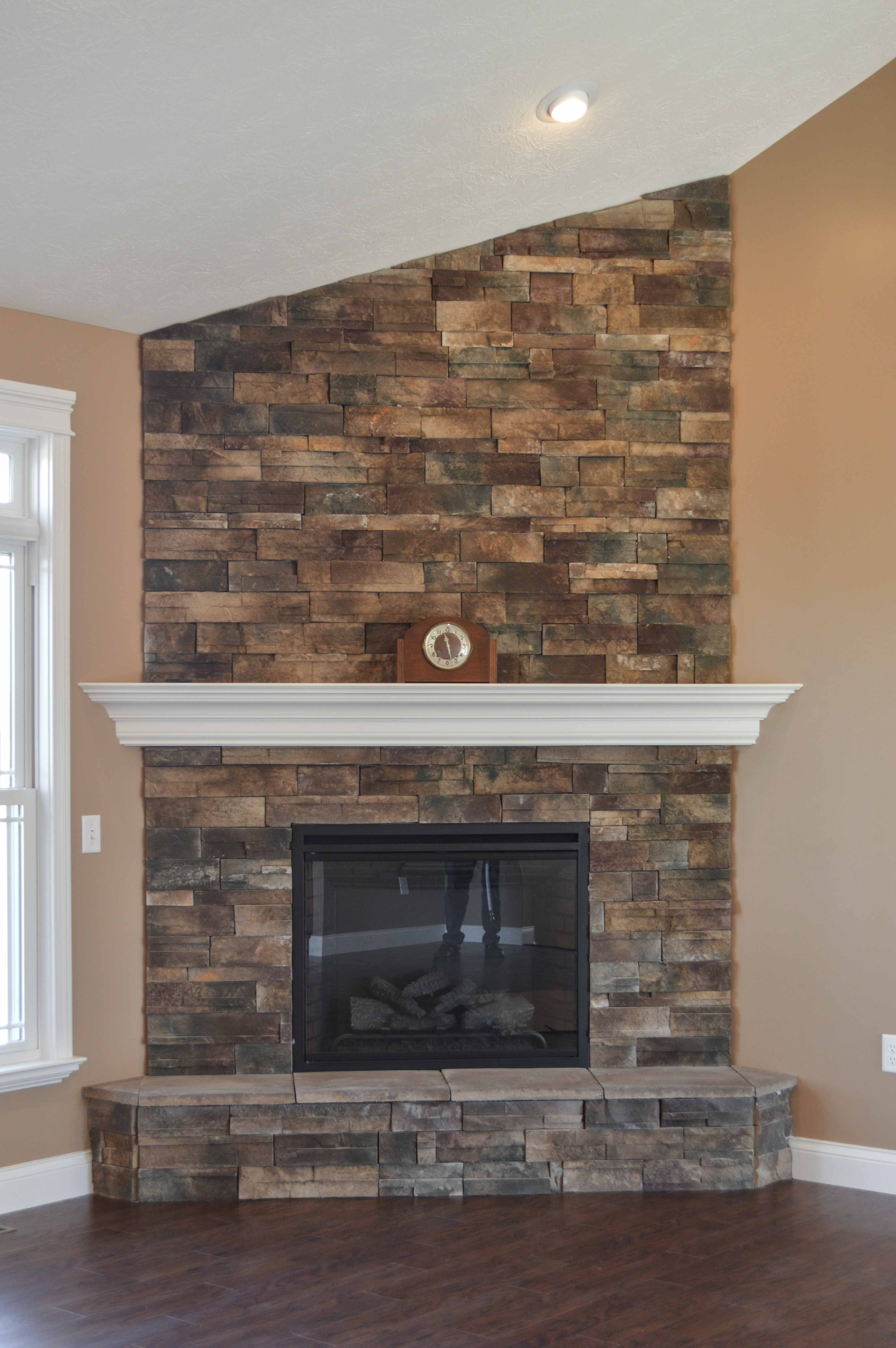 Corner Stacked Stone Fireplace Pictures