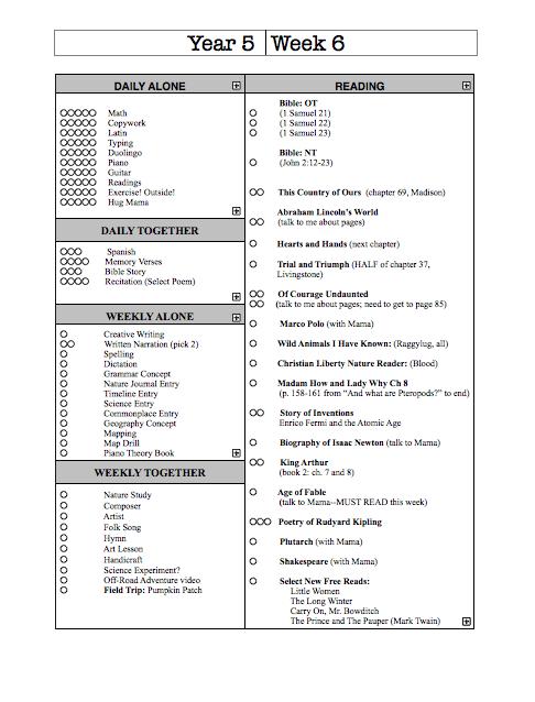 Year 5 Weekly Schedule