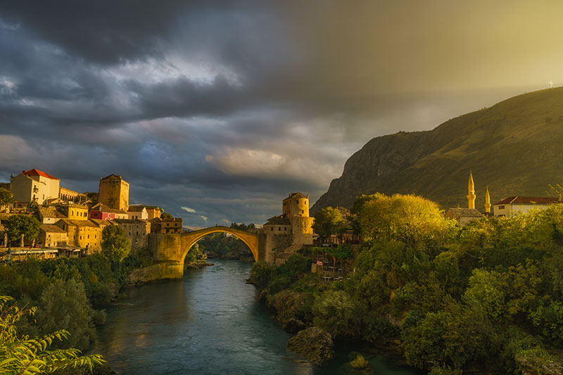The Stari Most (English Old Bridge) of Mostar at dusk.