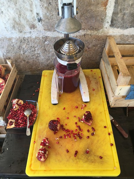 Fresh squeezed pomegranate juice.