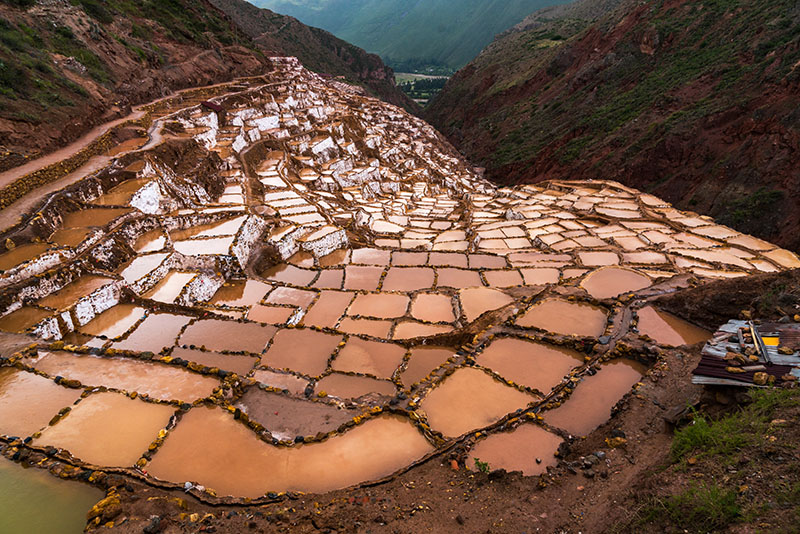 The salt fields of Maras and the Sacred Valley below.