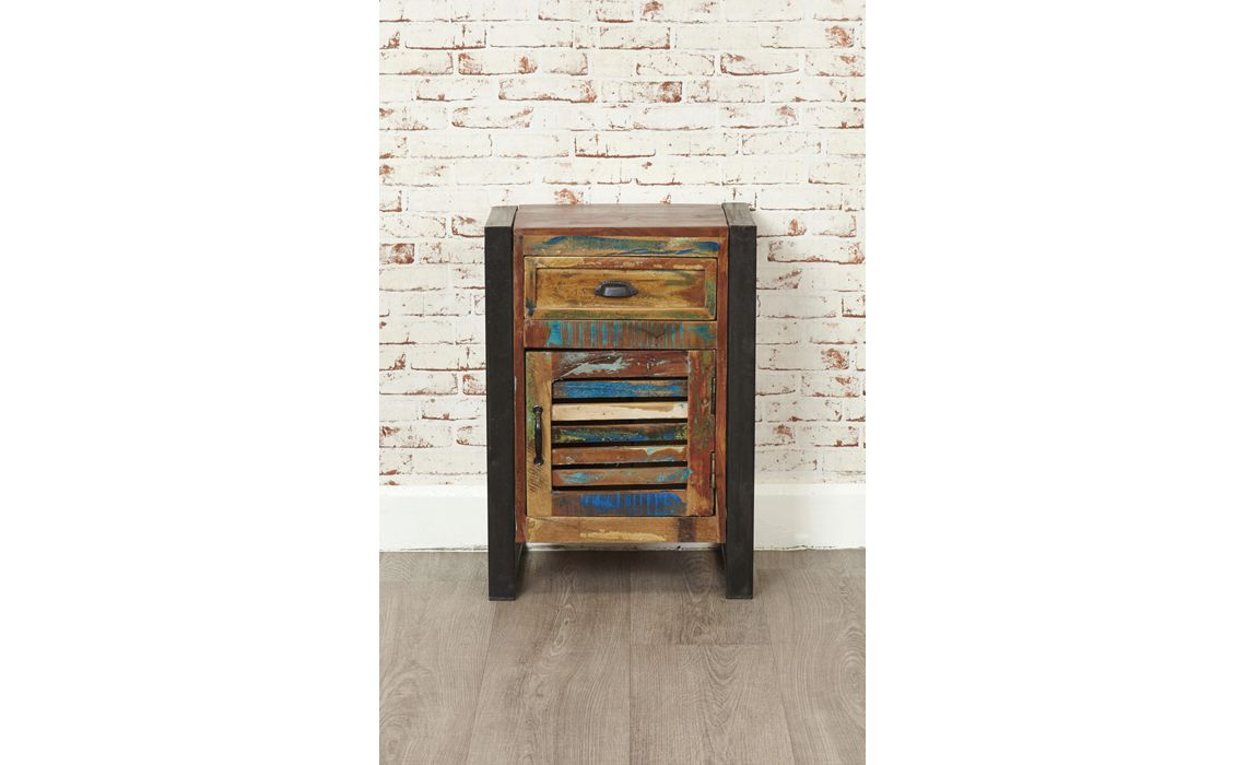 Mali Reclaimed Pine 1 Door 1 Drawer Lamp Table