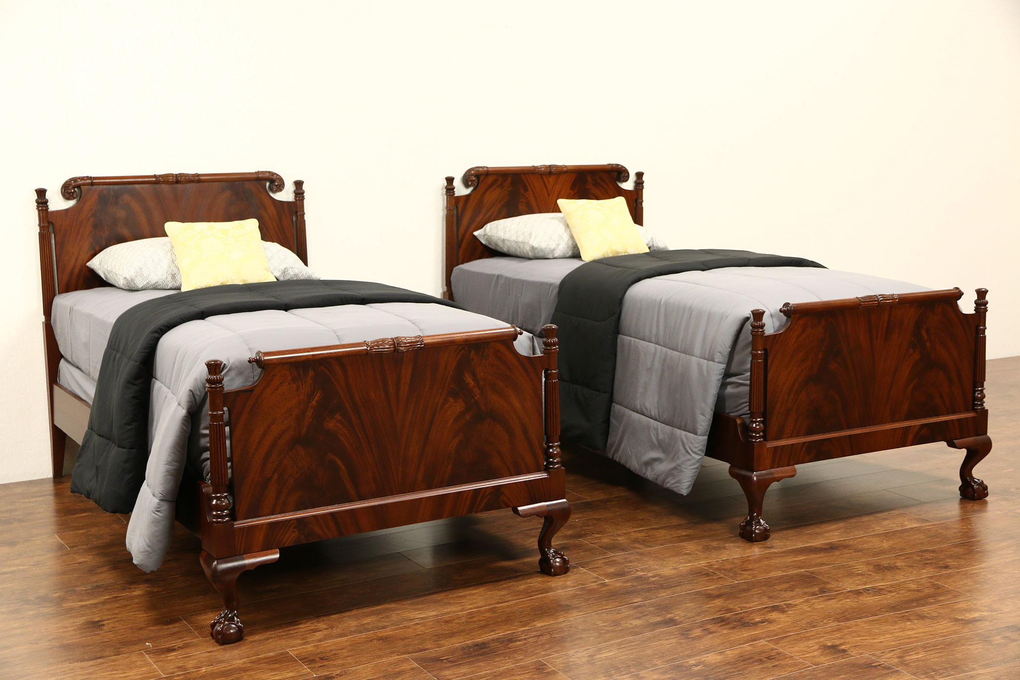 SOLD Pair Georgian Style 1940s Vintage Carved Mahogany