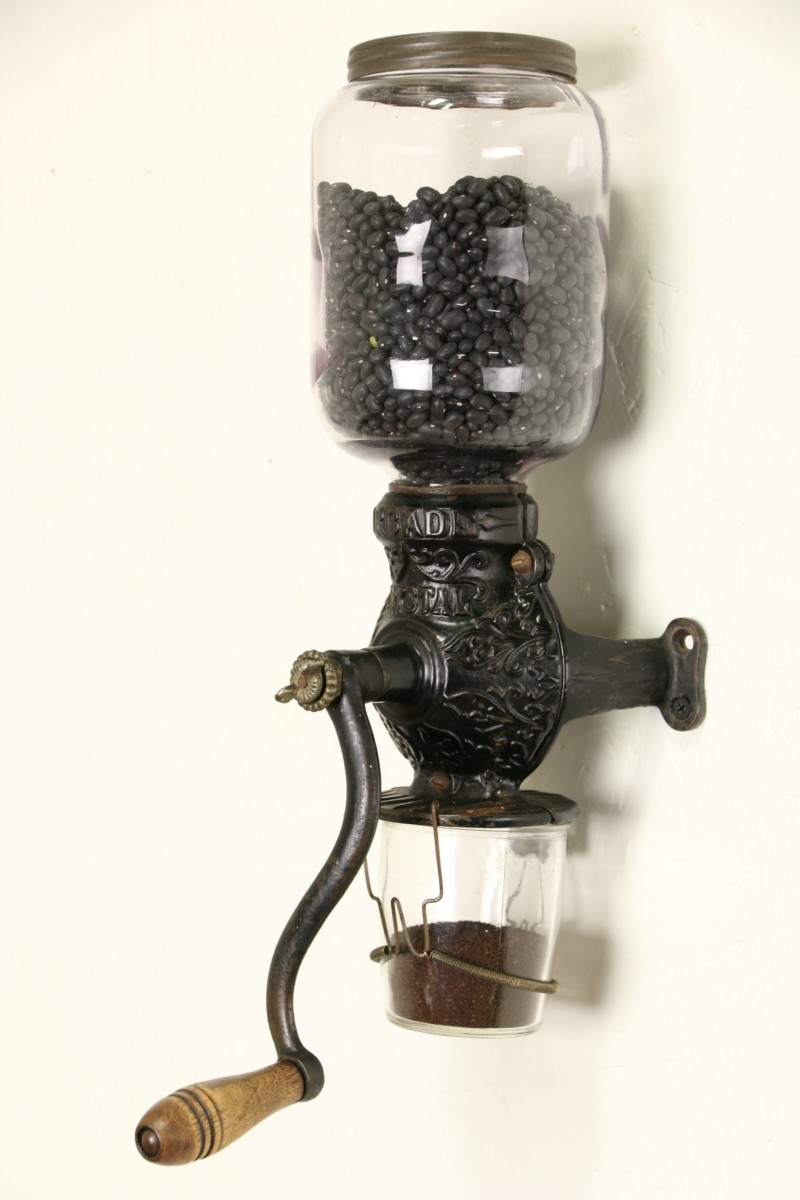 SOLD Arcade Crystal 1890s Antique Wall Coffee Grinder