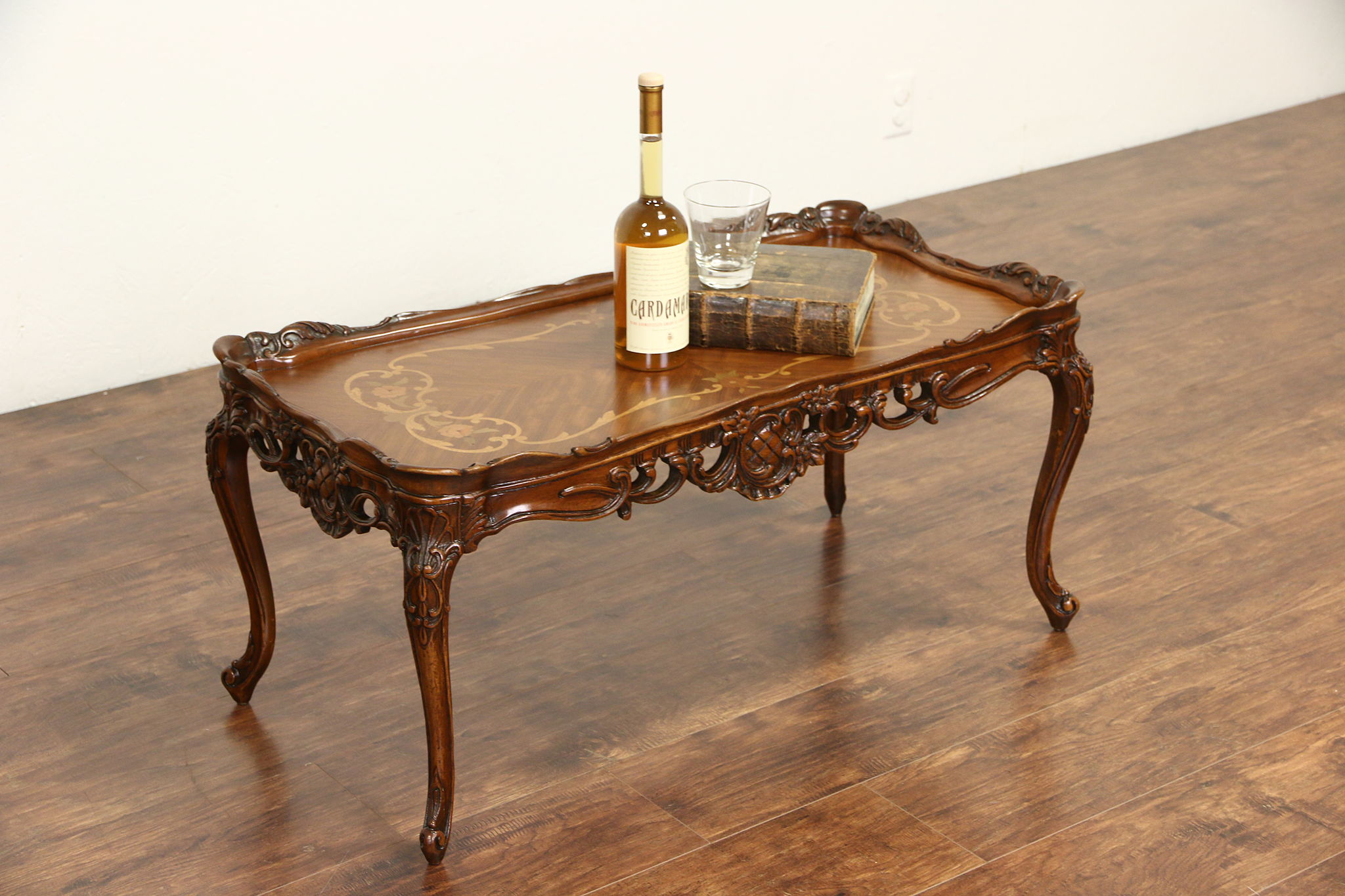 SOLD French Style Carved 1940s Vintage Coffee Table Marquetry Top Harp Gallery