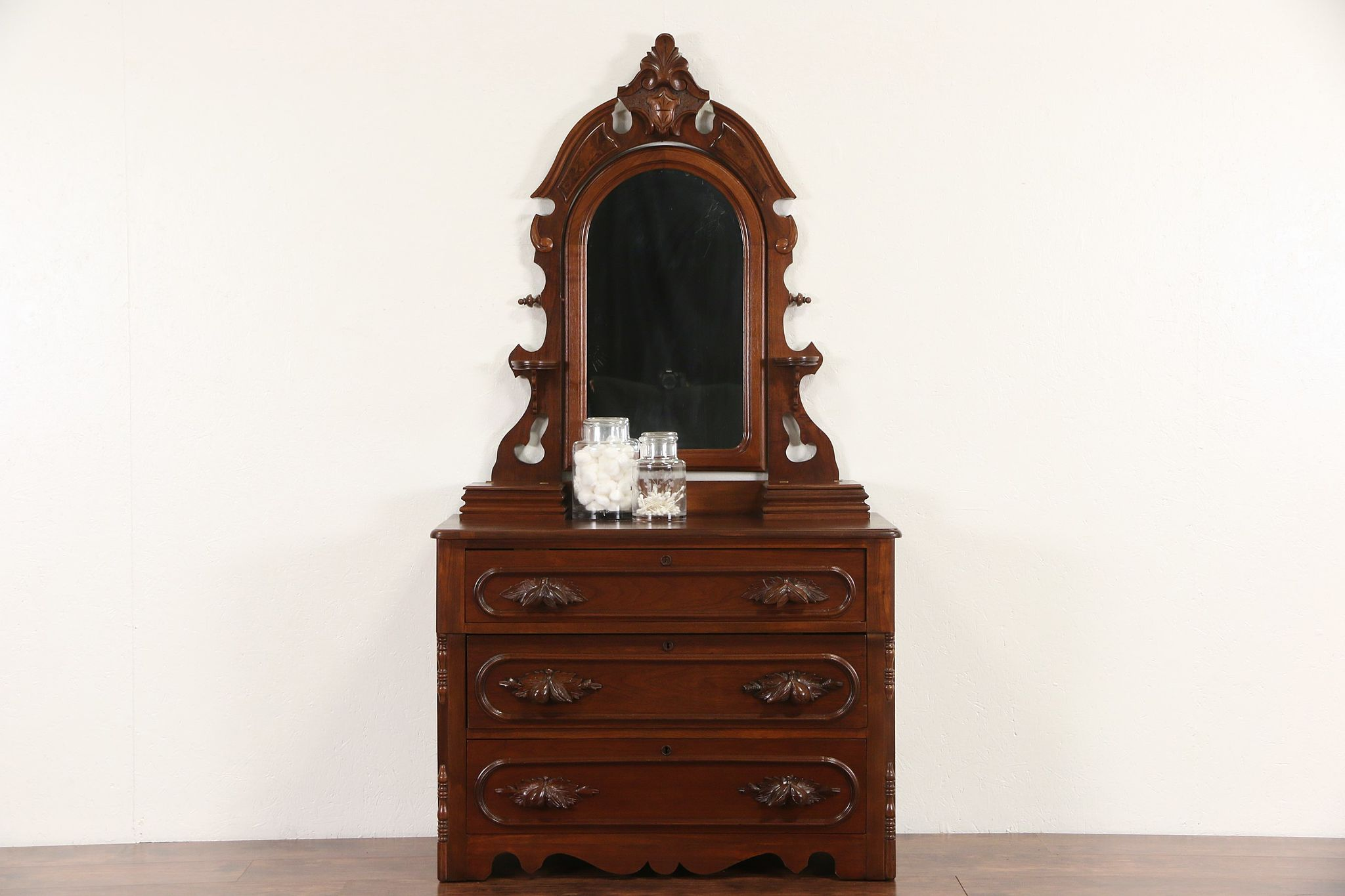 SOLD Victorian 1870 Antique Walnut Chest Or Dresser