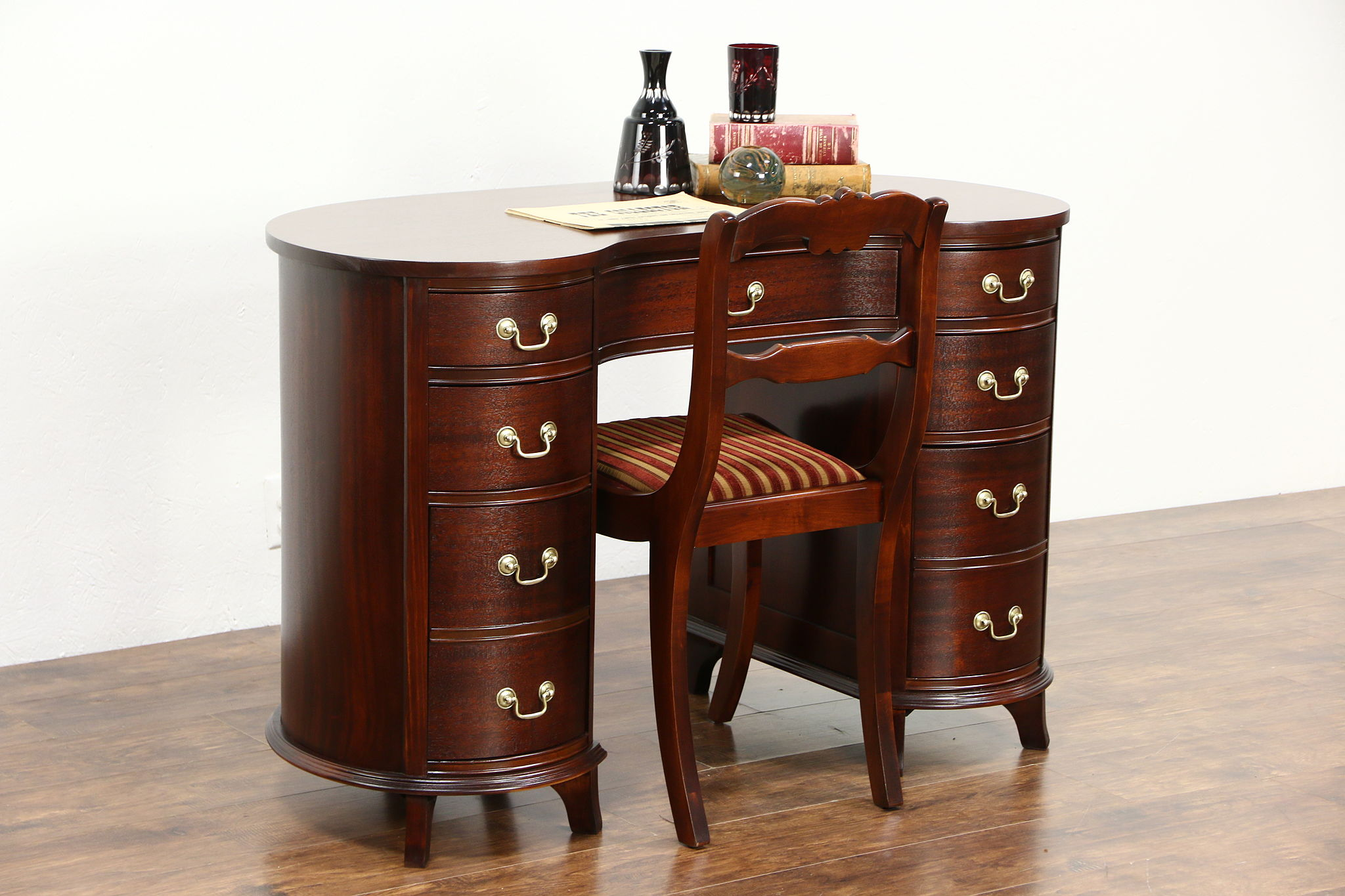 SOLD Mahogany 1950 Vintage Kidney Desk Amp Chair Library Set Harp Gallery