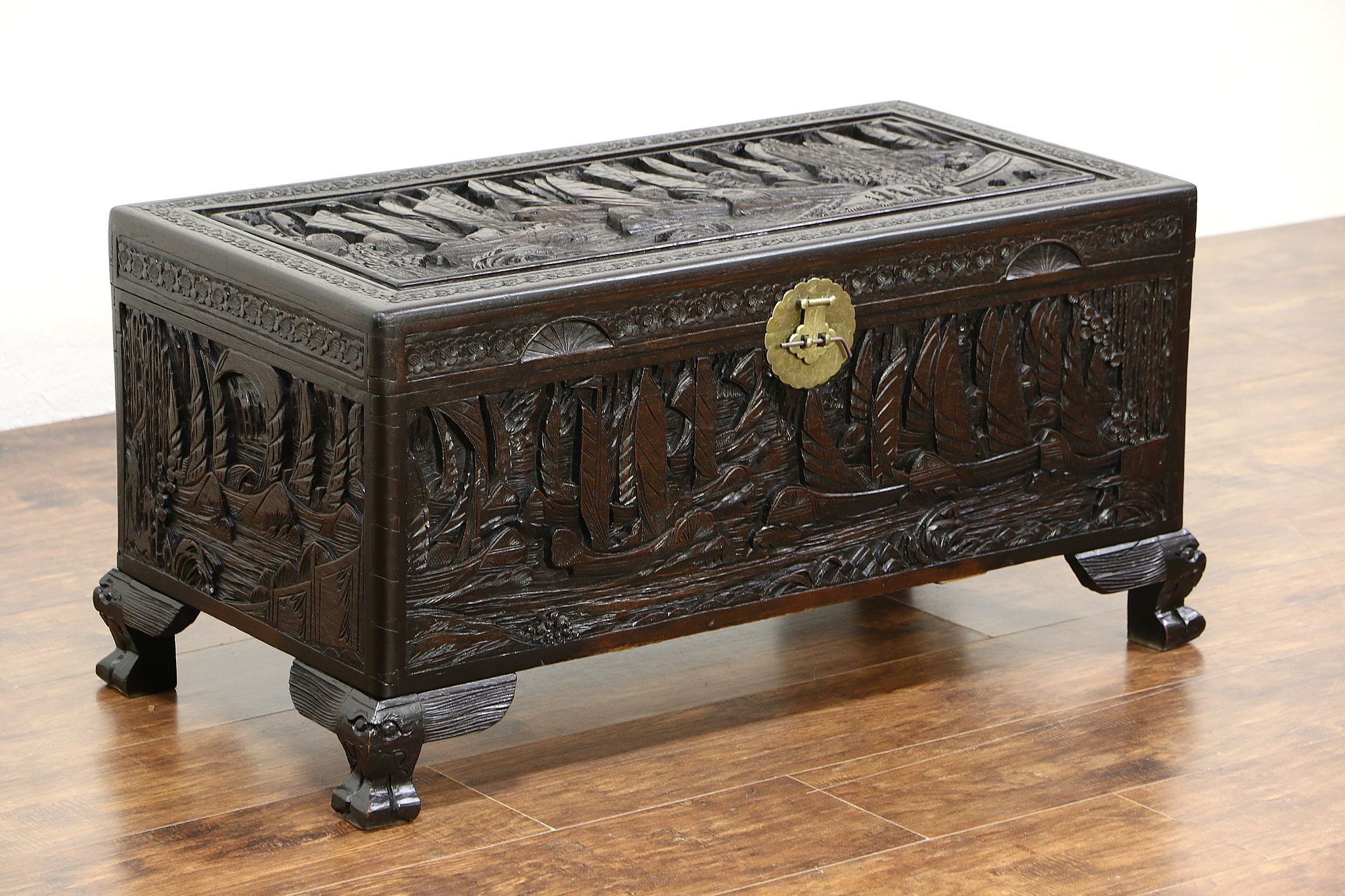 SOLD Chinese Camphor Wood Trunk Dowry Chest Or Coffee