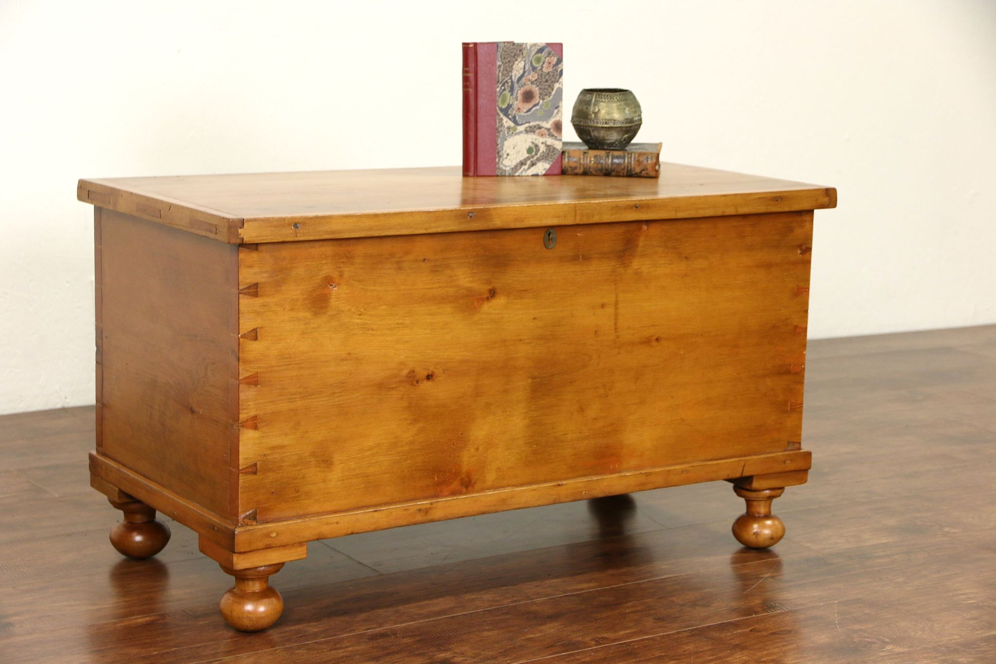 SOLD Country Pine 6 Board 1850 Antique Trunk Blanket Chest Or Coffee Table Bun Feet Harp