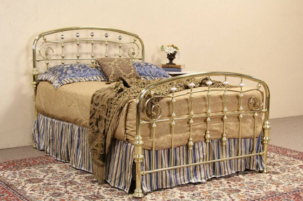 SOLD Victorian Style Vintage Brass Full Size Bed Marble