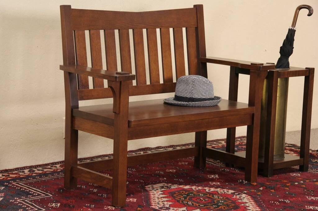 Sold Arts Amp Crafts Mission Oak Style Vintage Hall Bench