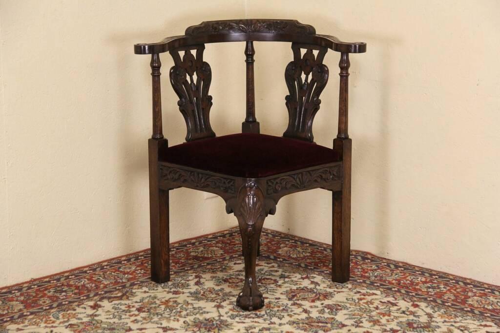Carved Oak 1900 Antique English Corner Chair EBay