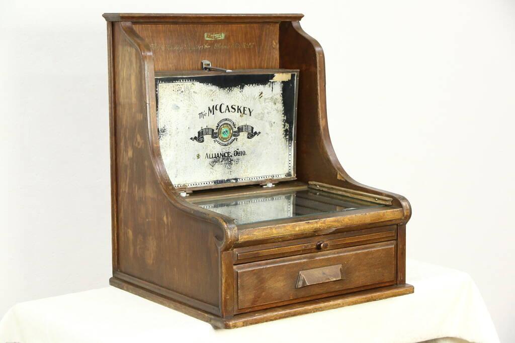McCaskey File 1900 Antique Oak Patented Countertop