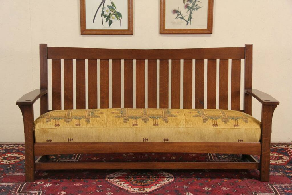 Sold Arts Amp Crafts Mission Oak Antique 1905 Settle Sofa