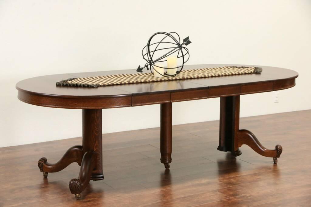 SOLD Oak 44 Round 1900 Antique Dining Table Pedestal