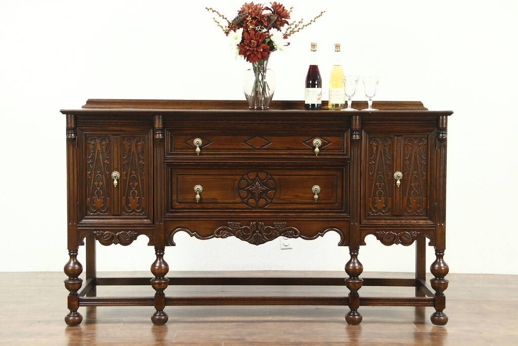 English Tudor Style 1920s Antique Sideboard Server Or