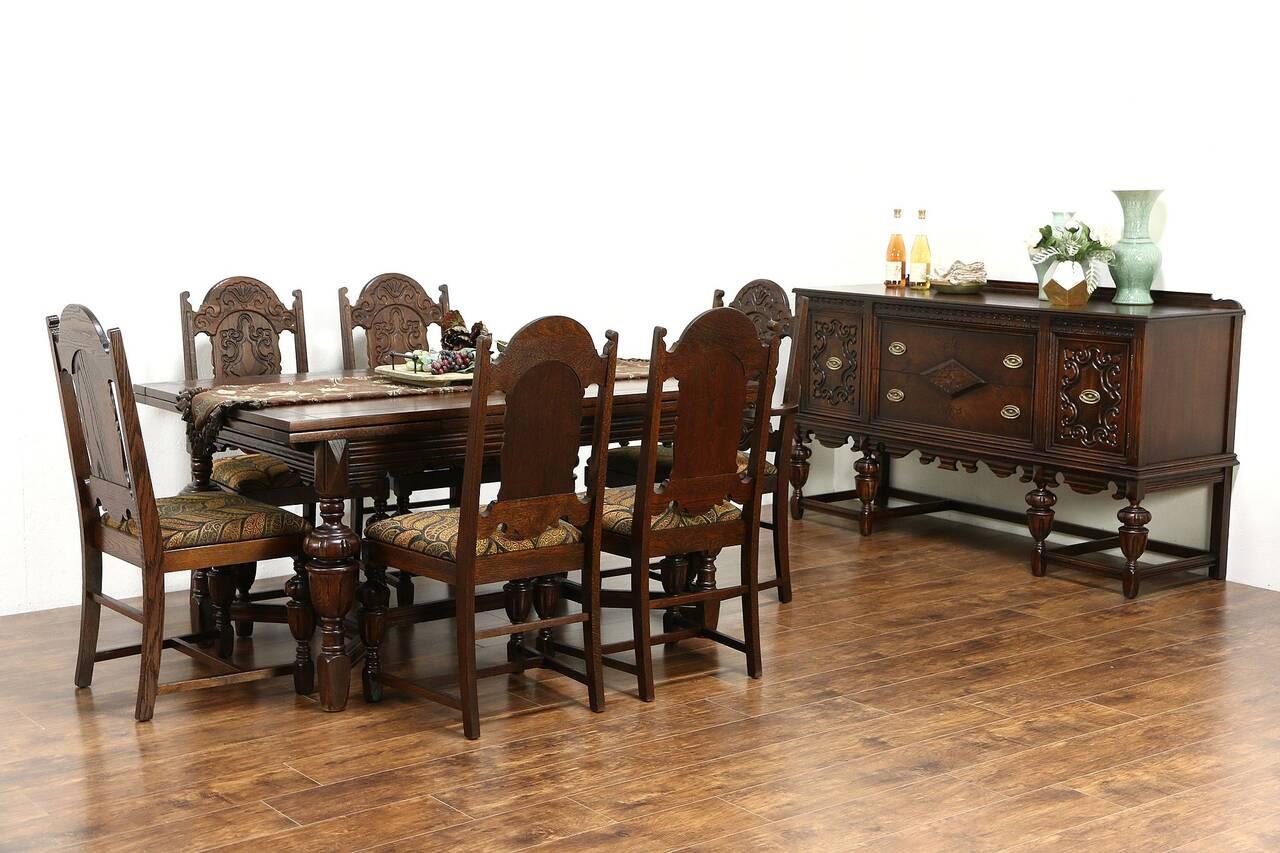 English Tudor 1920 Antique Oak Dining Set Table 6 Chairs