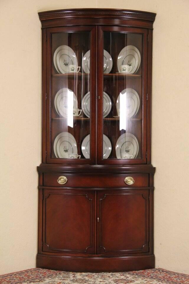 Drexel Travis Court Mahogany 1950s Vintage Curved Glass Corner Cabinet EBay