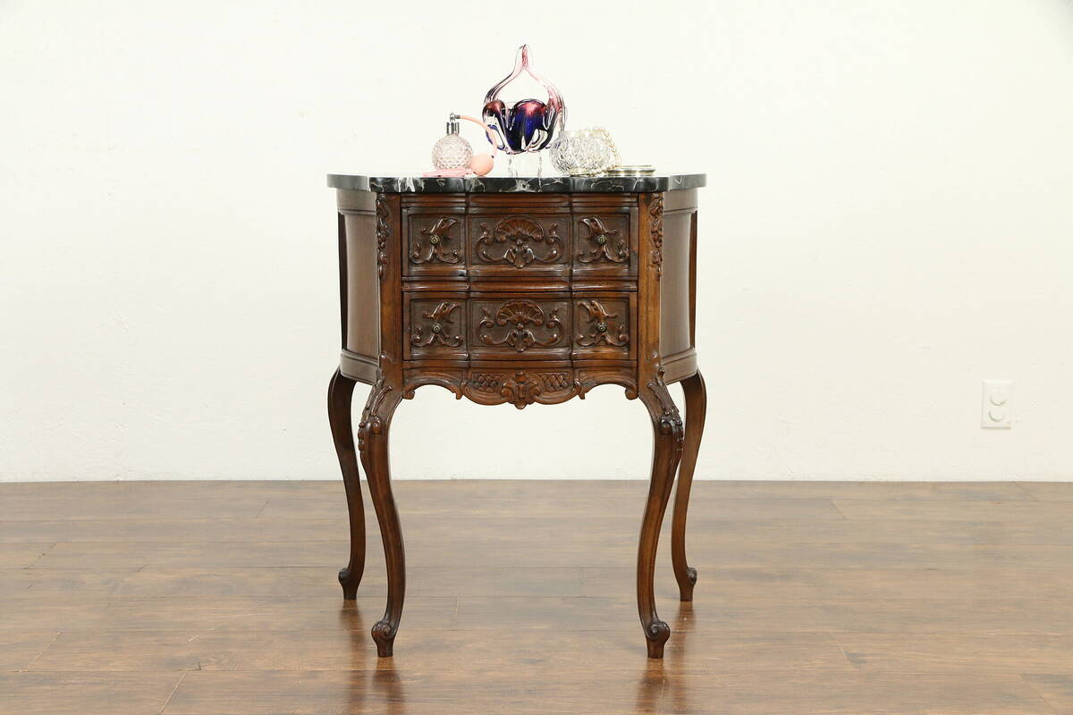 Details About French Style Antique Nightstand Chest Or Lamp Table Black Marble Top 31568