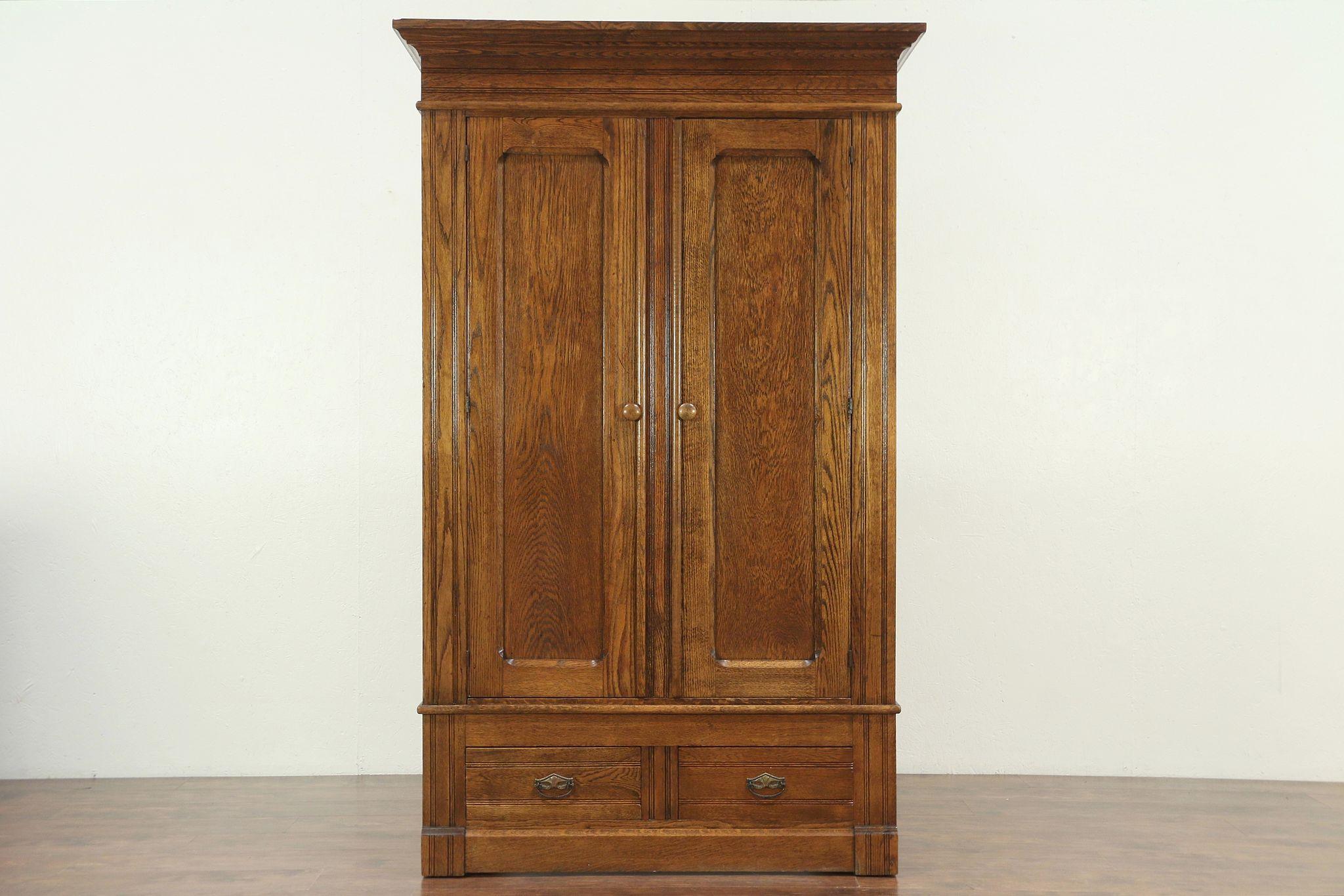 antique oak armoire wardrobe bright