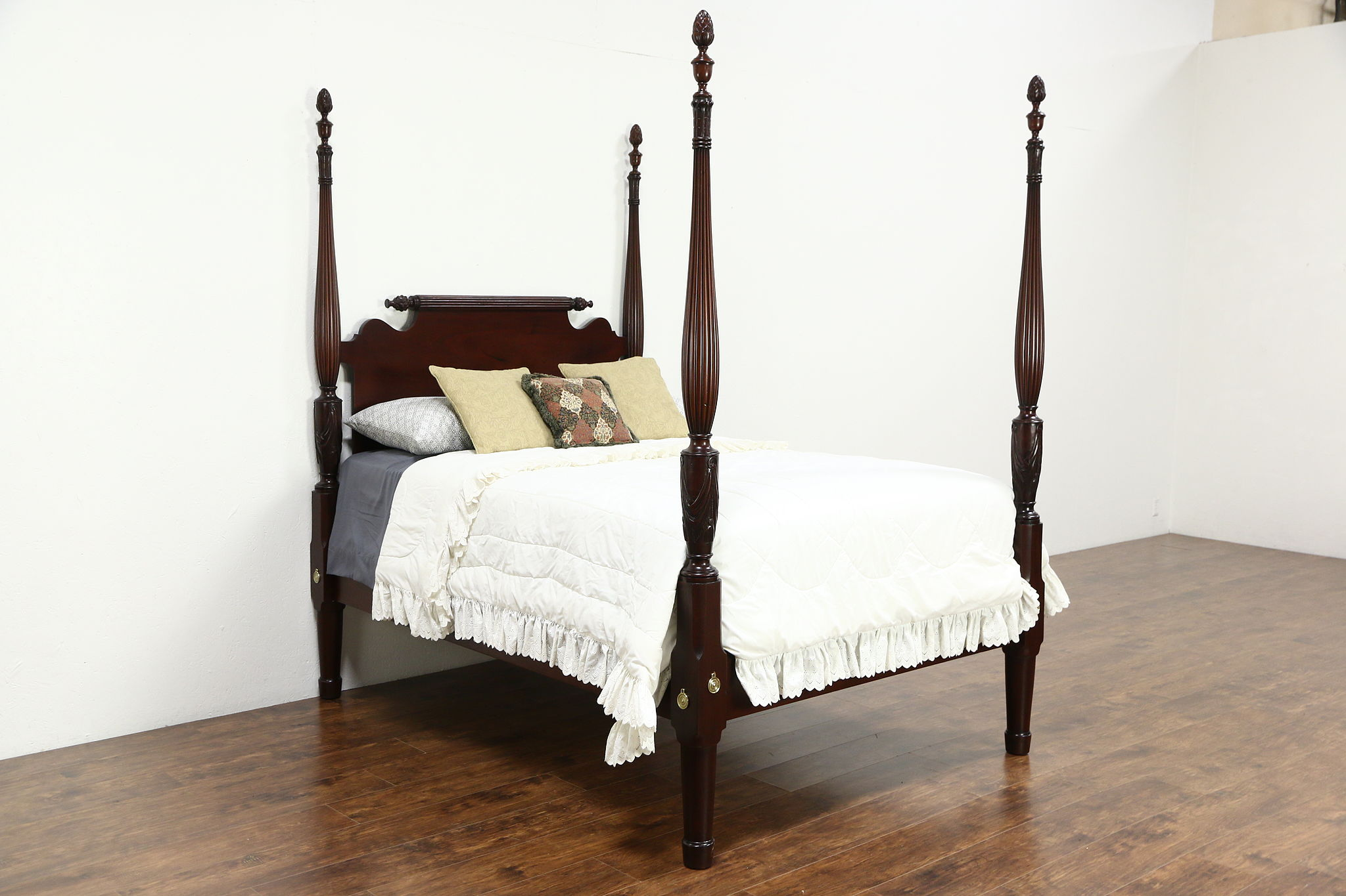 sold pineapple hand carved 1900 antique mahogany 4 poster full size bed 24974 harp gallery antiques furniture