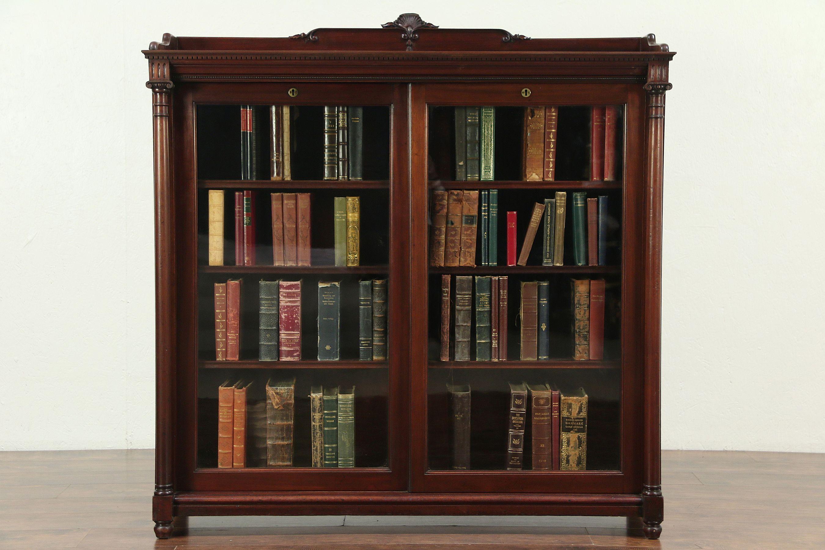 Mahogany Antique Bookcase Sliding Wavy Glass Doors Signed Paine Boston 28927