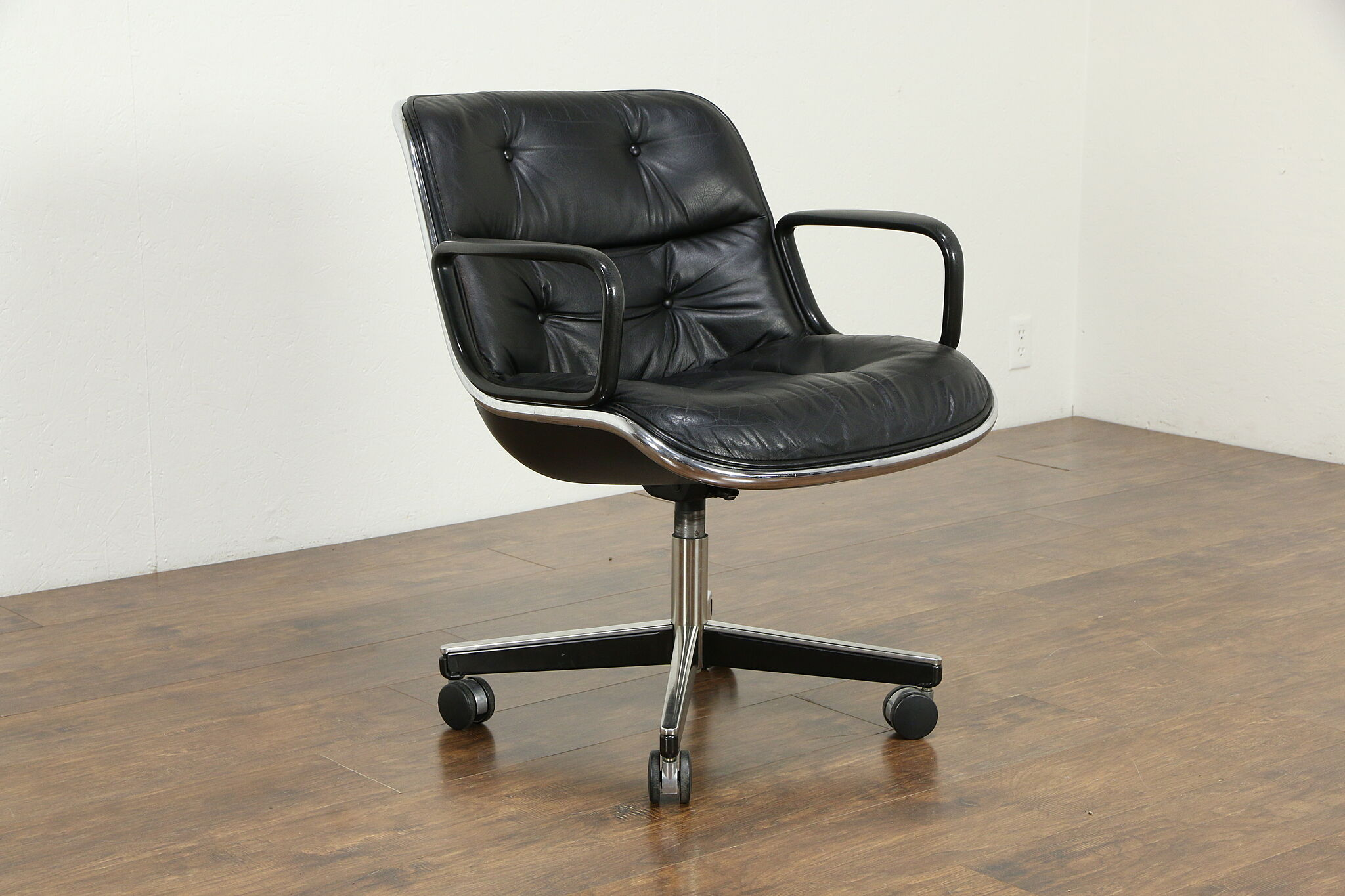 Sold Knoll Midcentury Vintage Swivel Adjustable Leather Chrome Desk Chair 34287 Harp Gallery Antiques Furniture