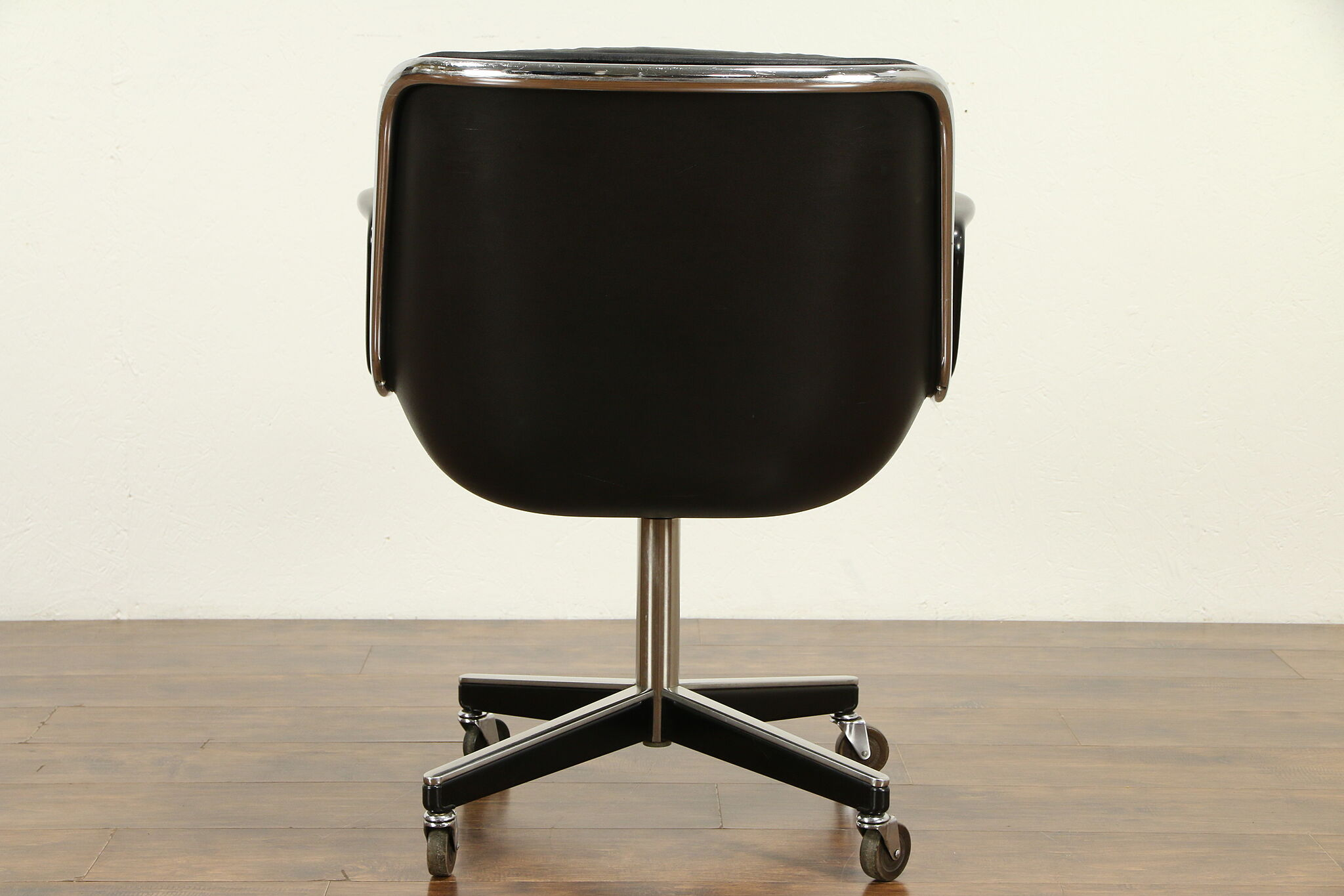 Sold Knoll Midcentury Vintage Swivel Adjustable Leather Chrome Desk Chair 31781 Harp Gallery Antiques Furniture