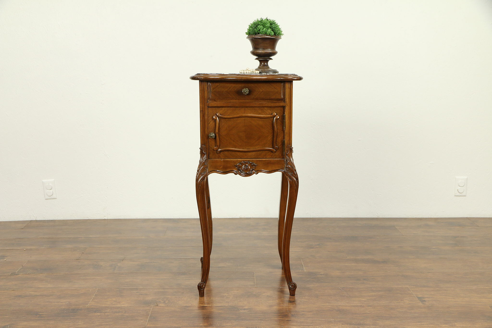 French Antique Hand Carved Walnut Nightstand Marble Top 31204