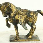 Sold Chinese Vintage Tang Dynasty Iron Horse Sculpture Harp Gallery Antiques Furniture