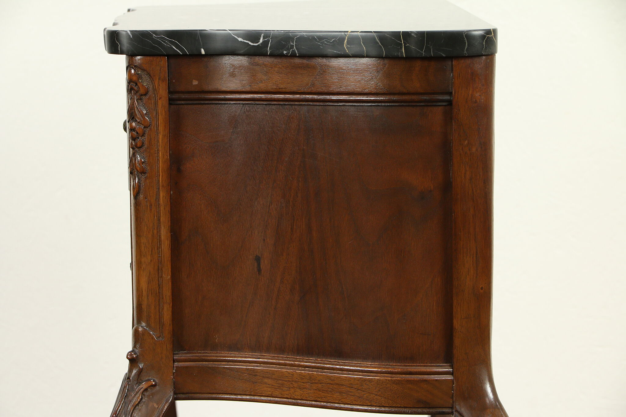 French Style Antique Nightstand Chest Or Lamp Table Black Marble Top 31568