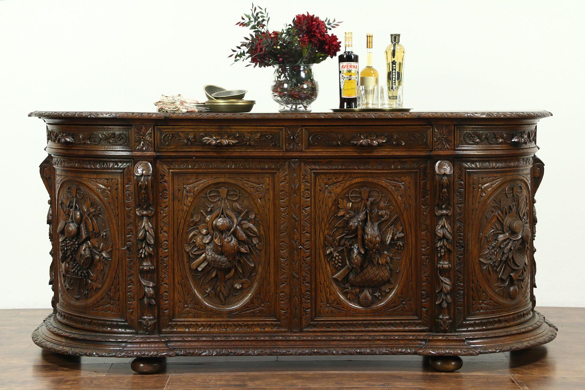 Sold Oak Antique Sideboard Server Or Buffet Carved Birds Black Forest 28593 Harp Gallery Antiques Furniture