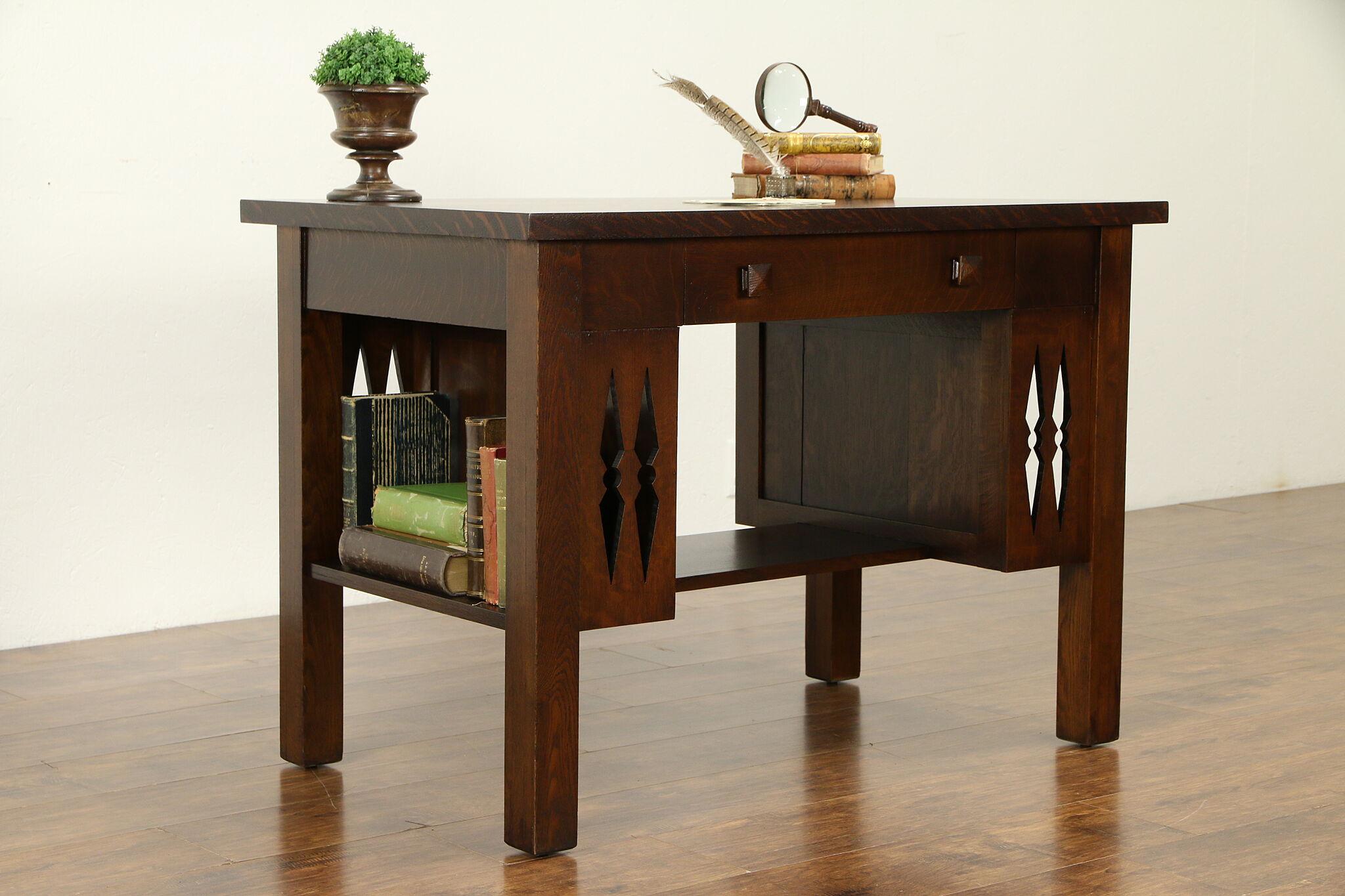 Sold Arts Crafts Mission Oak Antique Craftsman Library Table Desk 31941 Harp Gallery Antiques Furniture
