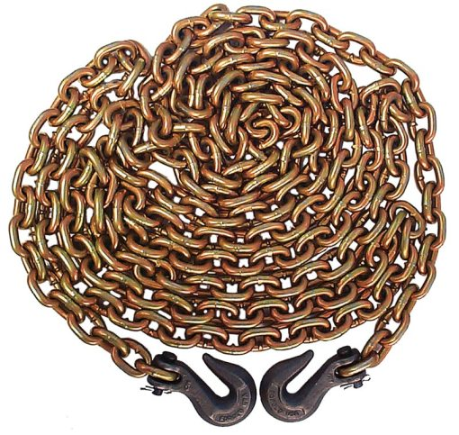 Grade 70 5/16 Inch x 20' chain with clevis hooks-0