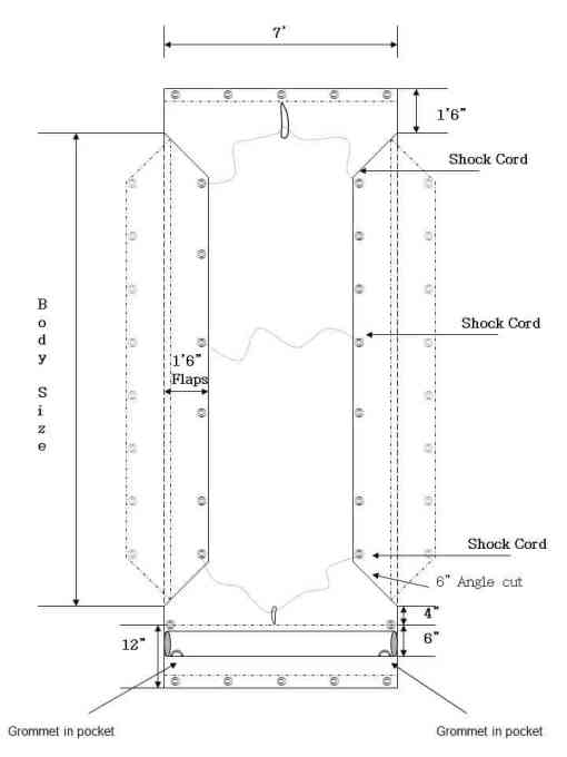 Asphalt Tarp with Side Flaps - For hauling asphalt-652