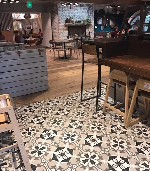 restaurant with patterned floor