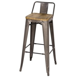 metal bar stool with a wood seat and a low back