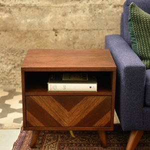 Wood mid century modern style end table