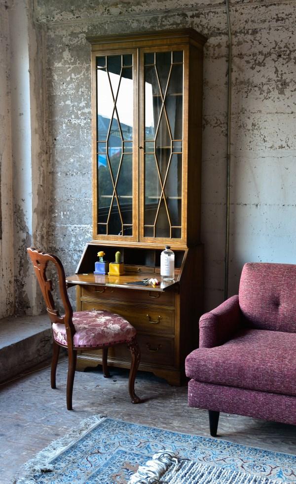 antique wooden desk with decor