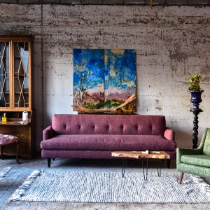 purple sofa and coffee table in living room