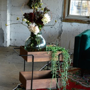 bar cart with flowers and decor