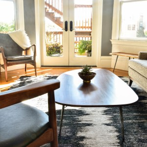 Coffee table in living room with decor