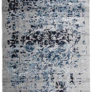 Grey and blue patterned rug